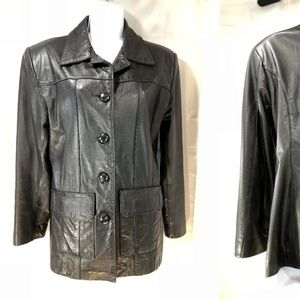 Vtg 70s Black Leather Car Coat Jacket sz S-M